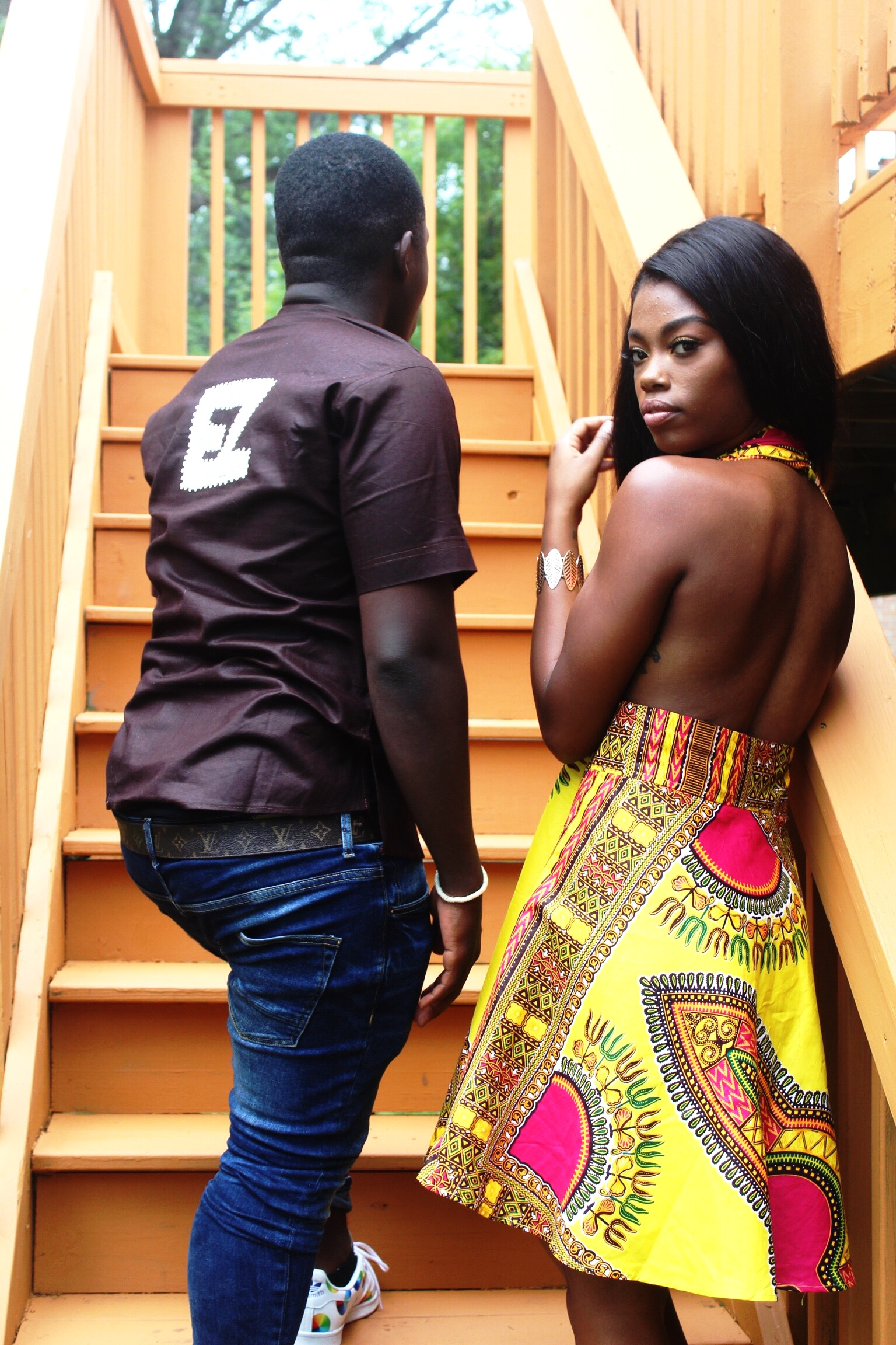 Dashiki Backless Dress