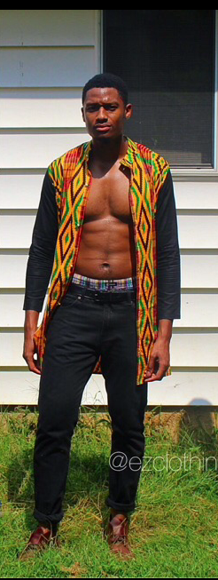 Men's Kente Print Shirt