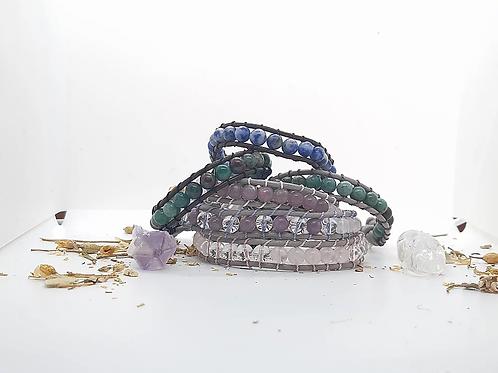 Single Leather Wrap Crystal Bracelet