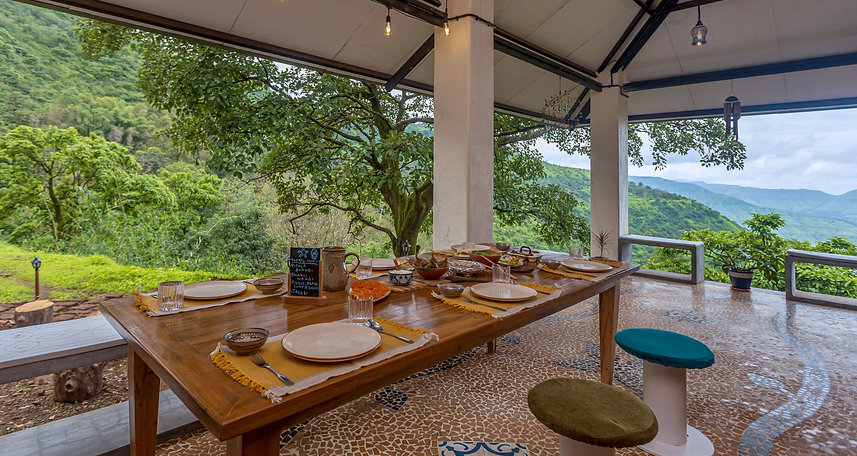 Dining area with Krishna River View at Avabodha | Villa in Panchgani
