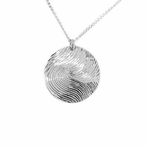 Touch - Fingerprint Pendant - One side - In Sterling Silver