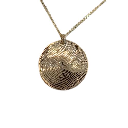 Touch - Fingerprint Pendant - One side -  In 9k Gold
