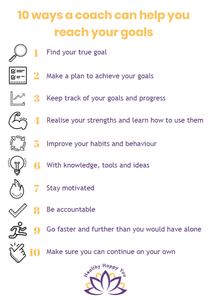 A good coach can help you: Find your true goal  Make a plan to achieve your goal  Keep track of your goals and progress  Realise your strengths and how you can use them to reach your goal  Improve your habits and behaviour  With knowledge, tools and ideas  Stay motivated  Be accountable  Go faster and further than you would have gone on your own  Make sure you can continue on your own
