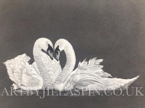 Swans in Love - Original Art