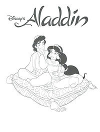 Aladdin Colouring In Page