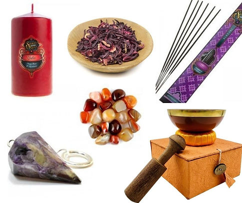 herbs, crystals and candles