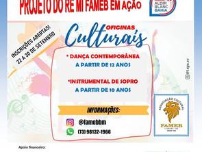 ITUBERÁ: Inscrições para oficinas culturais são abertas nesta quarta-feira (22)