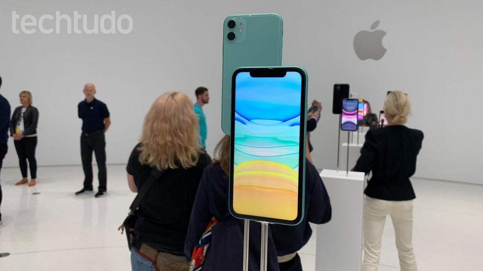 iPhone 11 durante lançamento nos EUA — Foto: Thássius Veloso/TechTudo