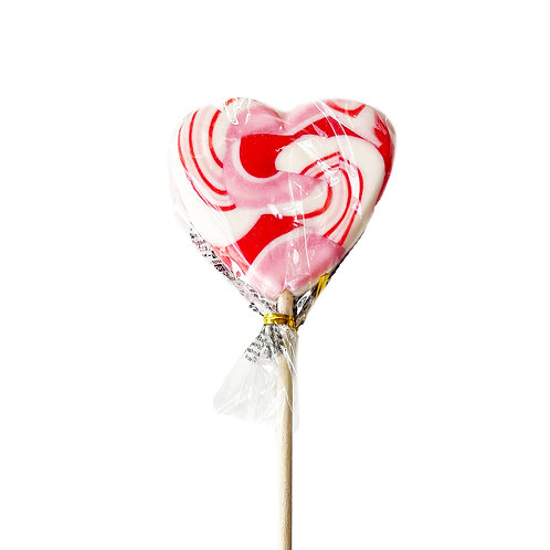 Spiral Heart Lolly Rood-Wit