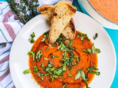 One-pot roasted tomato basil soup