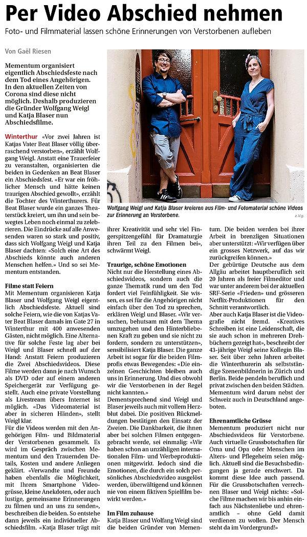 Mementum - Winterthurer Zeitung Feb 2021