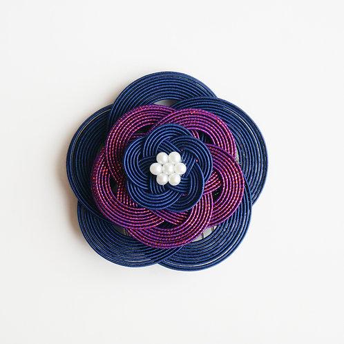 水引ヘアコーム 梅(紺×赤紫)