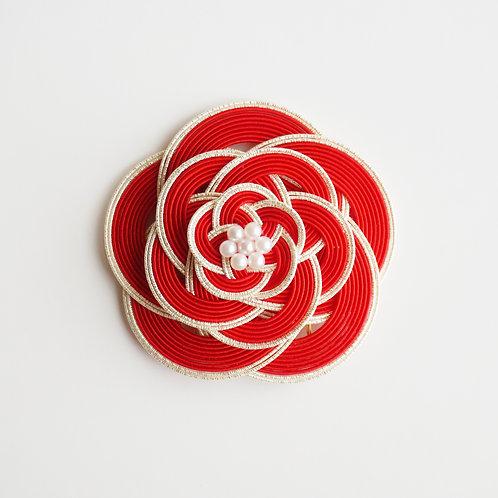 水引ヘアコーム 梅(赤×白)