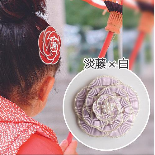 水引ヘアコーム 梅(淡藤×白)