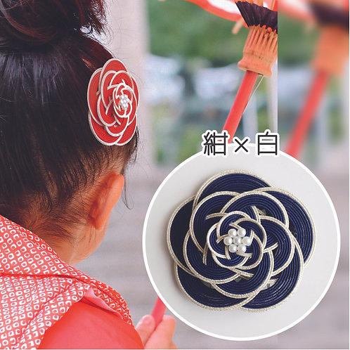 水引ヘアコーム 梅(紺×白)