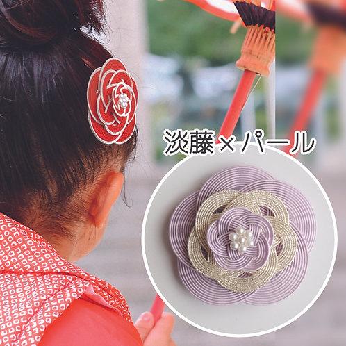 水引ヘアコーム 梅(淡藤×パール)