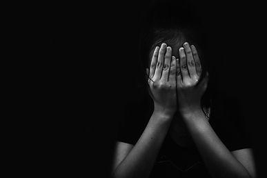 fear children hand cover face, imprison,