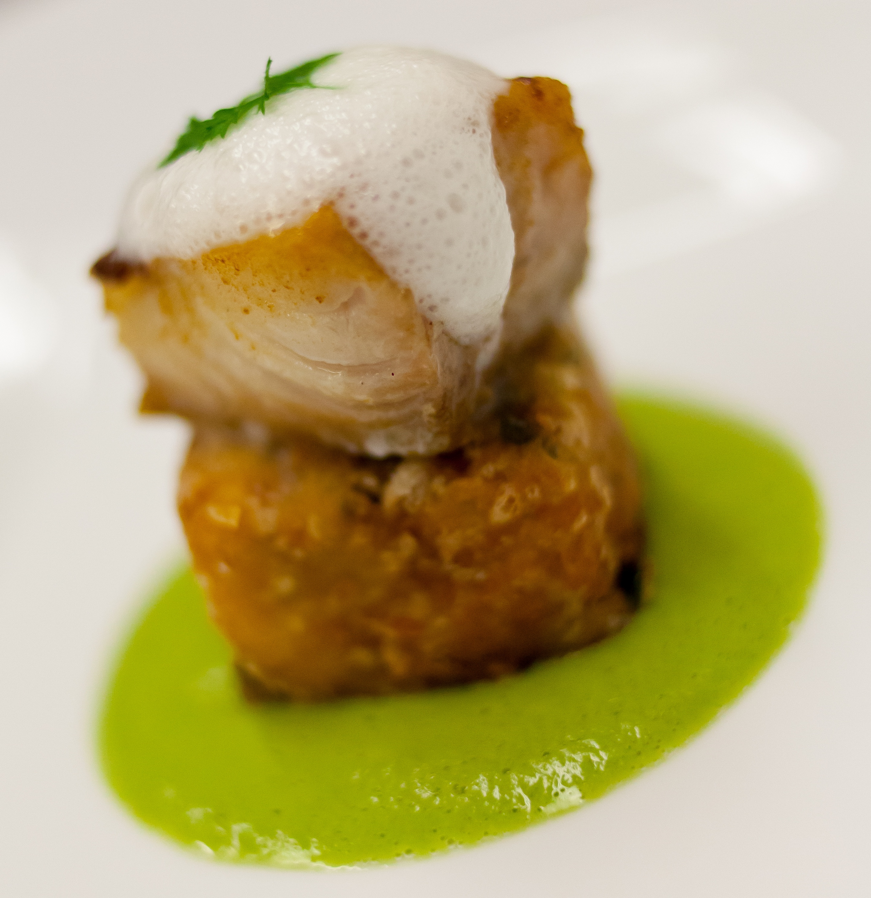 Halibut, peas puree, sea foam