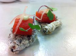 Cured salmon, fried nori
