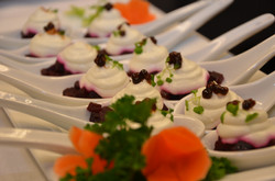 Pickled beets, goat cheese creama