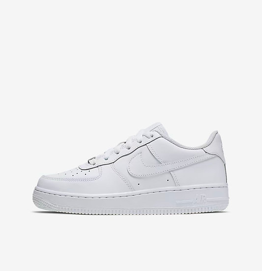 Older kids - white Air Force 1 (Size has to be available on the Nike website)