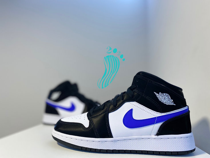 Jordan 1 mid ( GS ) black racer blue