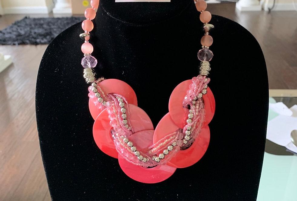 Pink circle cluster/earrings set