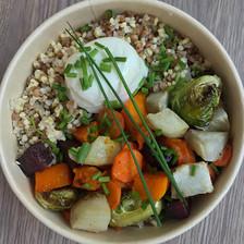 céréales kasha, légumes d'hiver rôties