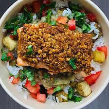 saumon épices tandoori, riz
