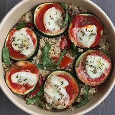 rondelles de courgettes, quinoa