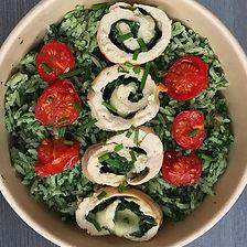 poulet épinard & mozza, riz vert