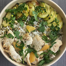 poulet au zaatar, riz, courgettes