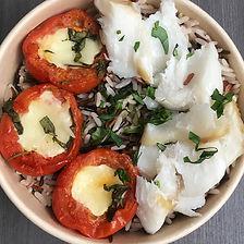 cabillaud, tomate mozzarella
