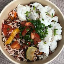 cabillaud sauce vierge, riz
