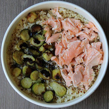 saumon et choux de Bruxelles
