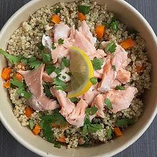 saumon, quinoa aux carottes