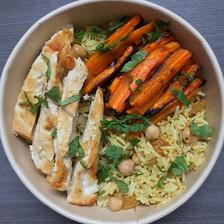 poulet et carottes rôties