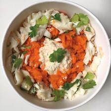cabillaud et écrasé de carottes