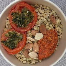 blé, tomates au four sauce poivrons