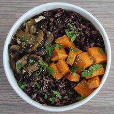 riz violet patate douce et champignons