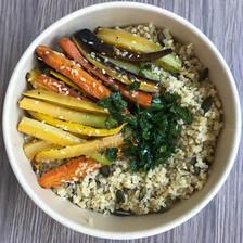 boulgour, carottes rôties sauce chimichuri