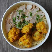 poulet, choux fleur curry et curcuma