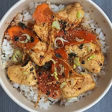 poulet poché au gingembre, riz