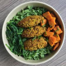 riz vert et croquettes de quinoa aux légumes