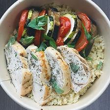 poulet aux herbes, tian de légumes