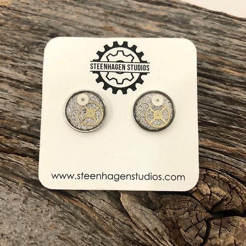 Silver Glitter Stud Earrings