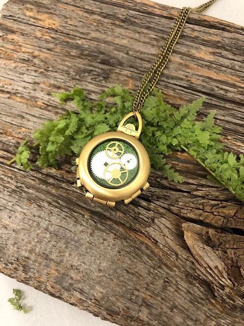 Green Watch Gear Locket in Bronze
