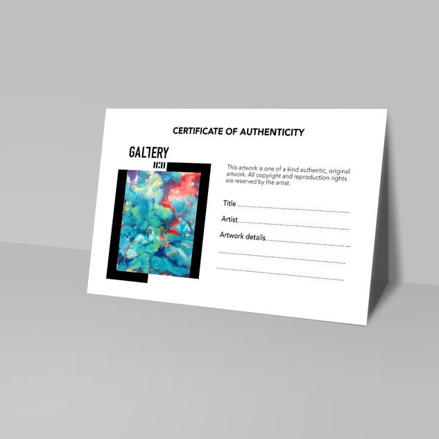 Création d'identité visuelle pour la galerie-Template pour certificat d'authenticité