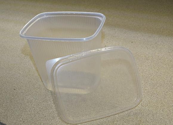 500ml Plastikbecher transparent eckig mit Deckel 10 Stück