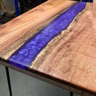 Purple Resin Silk Oak River Table